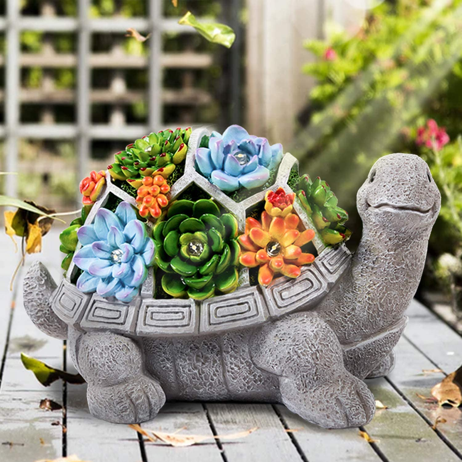 LESES Garden Statues Turtle Outdoor Ornament Figurines with Solar Powered Lights Decorations for Patio Yard Lawn Gardening Gifts