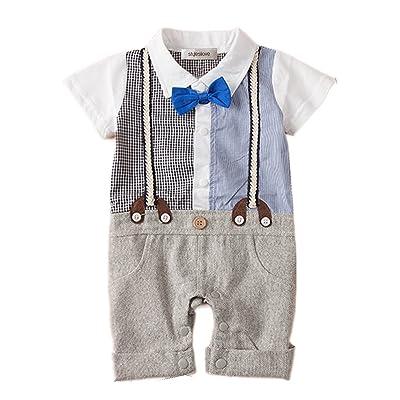 f758f0db1556 stylesilove Newborn Infant Toddler Two Patterns Faux Suspender Baby Boy  Tuxedo Romper