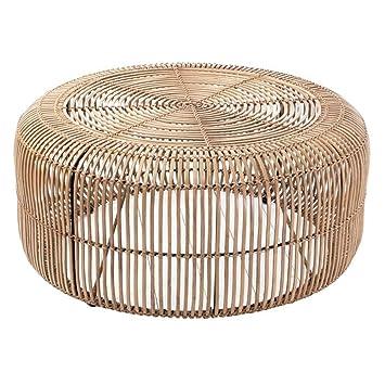Rotin Table Basse Ronde En Finition Naturelle Amazon Fr