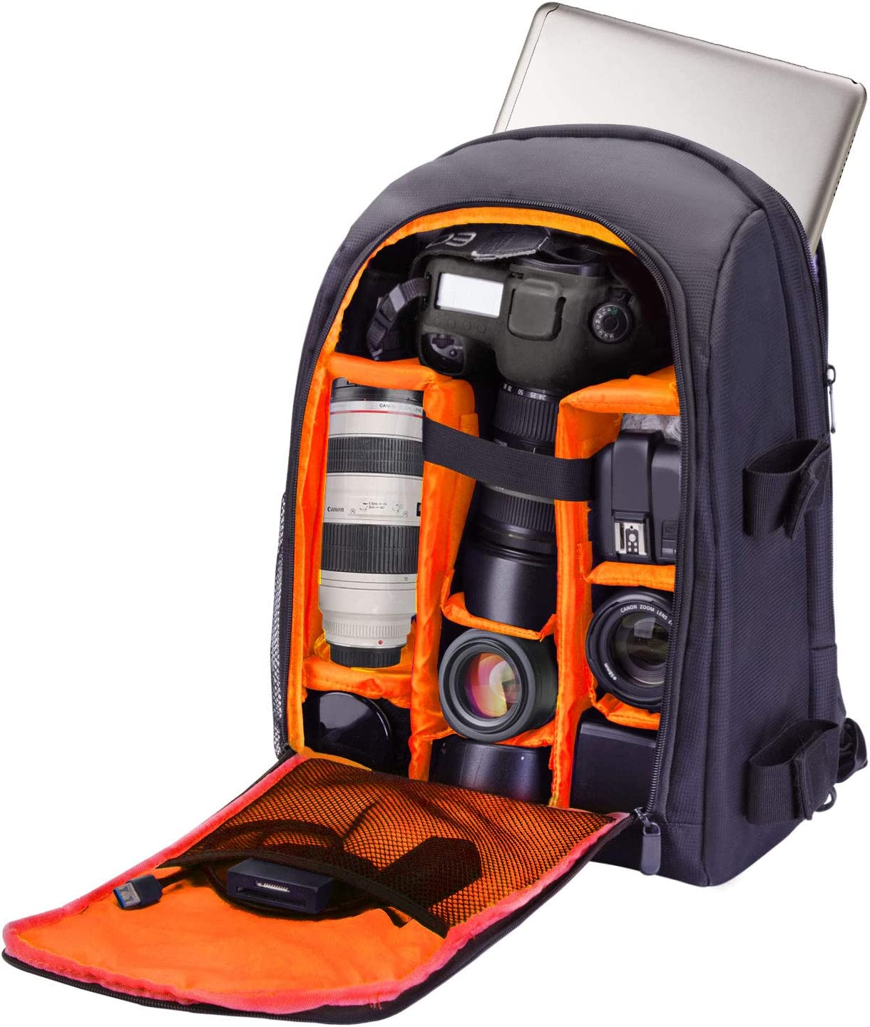 Camera Backpack Waterproof by G-raphy for DSLR/SLR Cameras (Canon, Nikon, Sony and etc), Laptops, Tripods, Flashes, Lenses and Accessories (Orange)