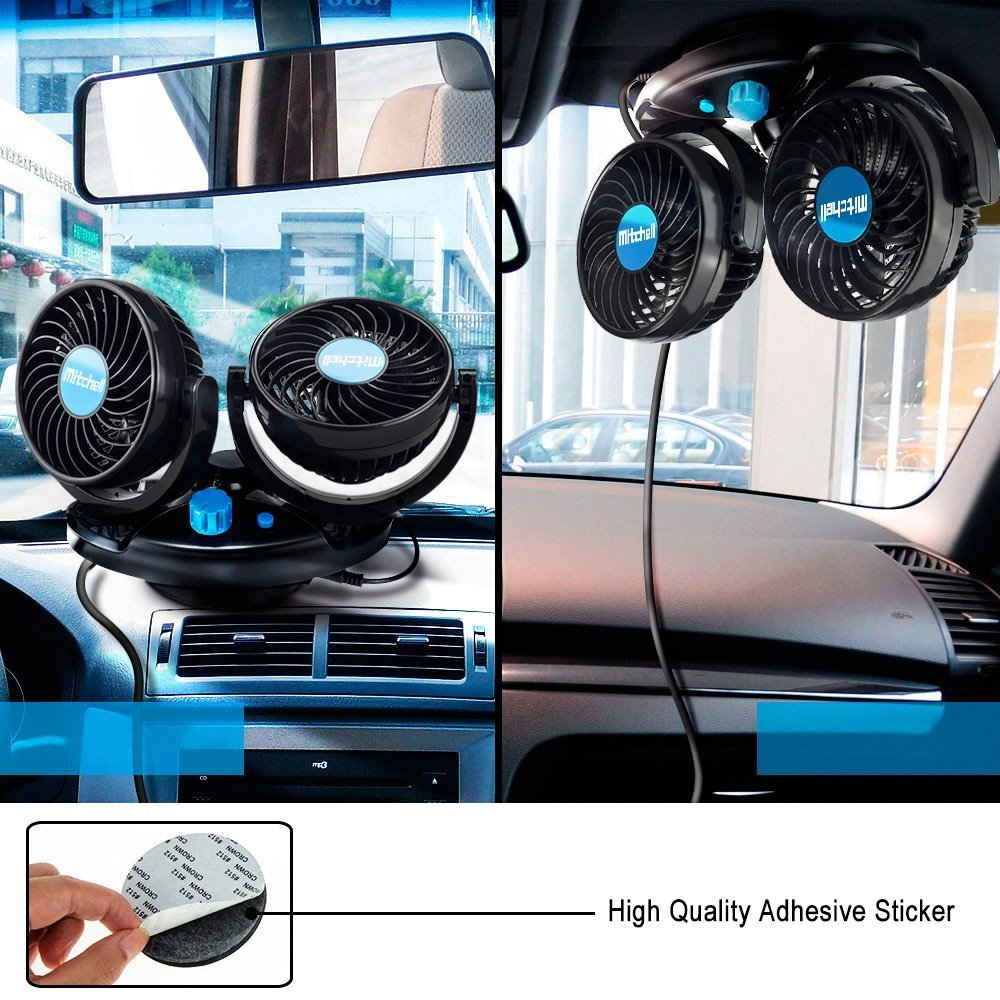 Auto KFZ Ventilator 360-Grad-Drehung L/üfter Color You 12V Auto Kfz L/üfter 2 Geschwindigkeiten Einstellbar Auto Fan f/ür Alle Familienwagen Kofferraum SUV Van Truck RV ATV Boot
