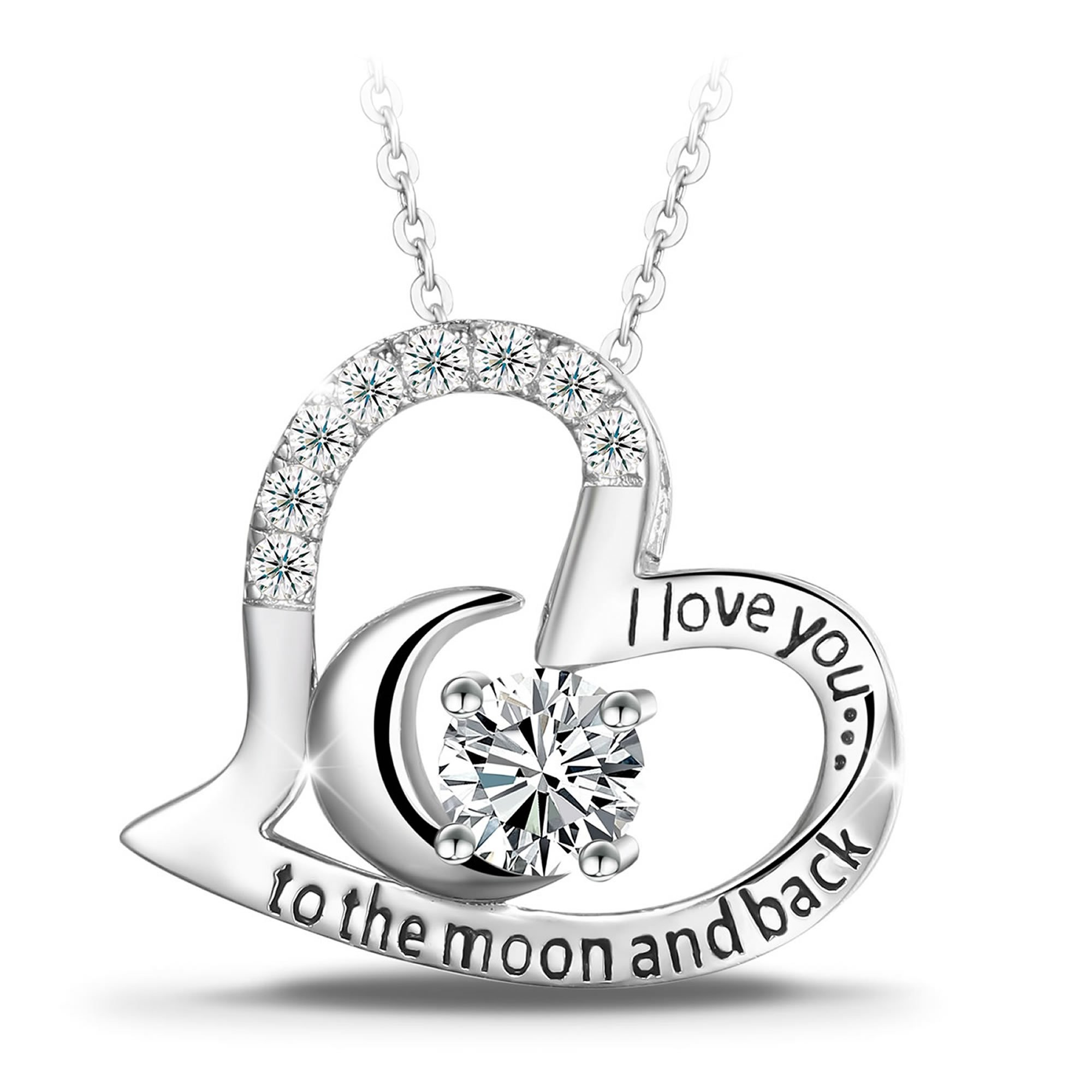 T400 925 Sterling Silver Necklace I Love You to The Moon Back White Cubic Zirconia Moon Heart Pendant Women Gift