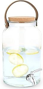 Navaris Beverage Dispenser with Spigot - 1.5 Gallon (5.6L) Glass Drink Jar with Metal Tap, Cork Lid, Handle - For Cold Drinks, Water, Parties
