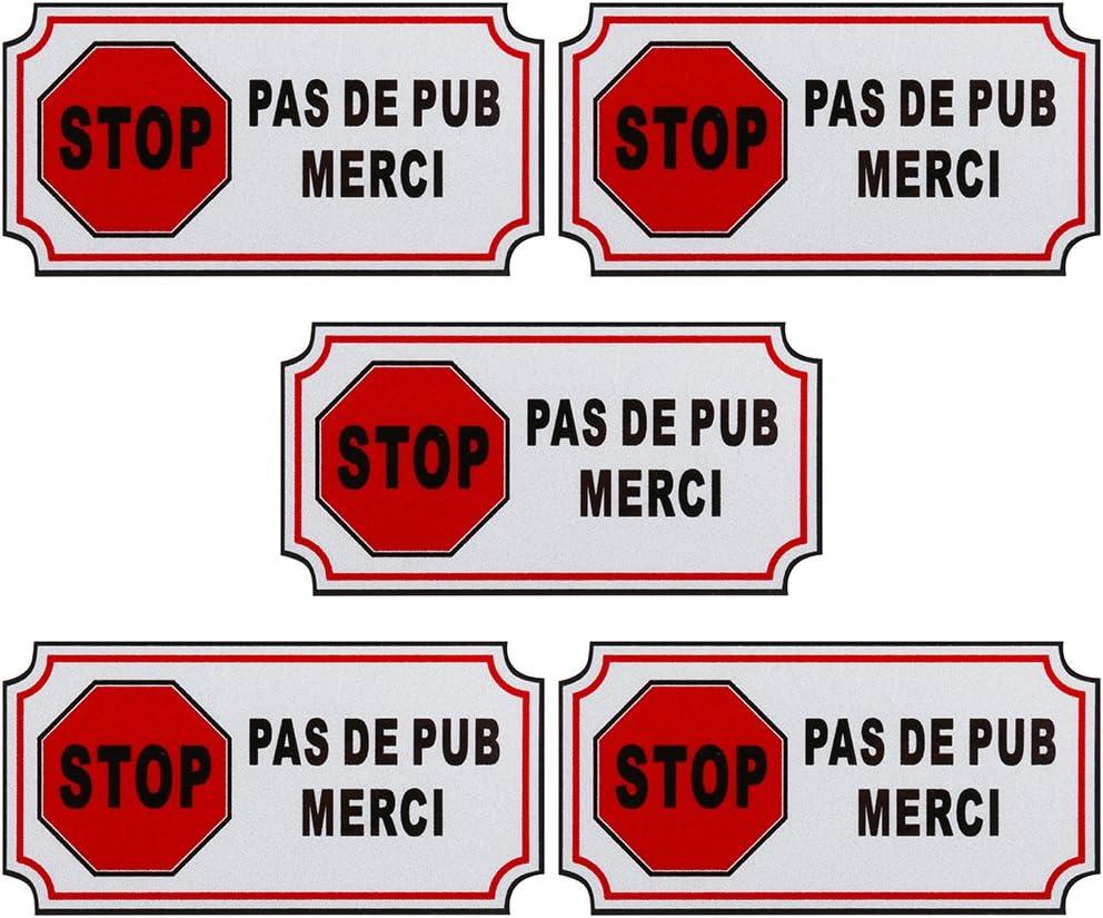 Faburo 5pcs Petit Autocollant Sticker adh/ésif PAS DE PUBLICITE ou STOP PUB