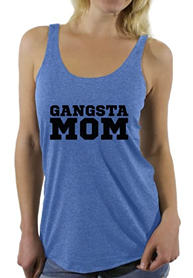f51e724a03de12 Awkward Styles Women s Gangsta Mom Graphic Racerback Tank Tops Gangsta Rep  Mom Blue S