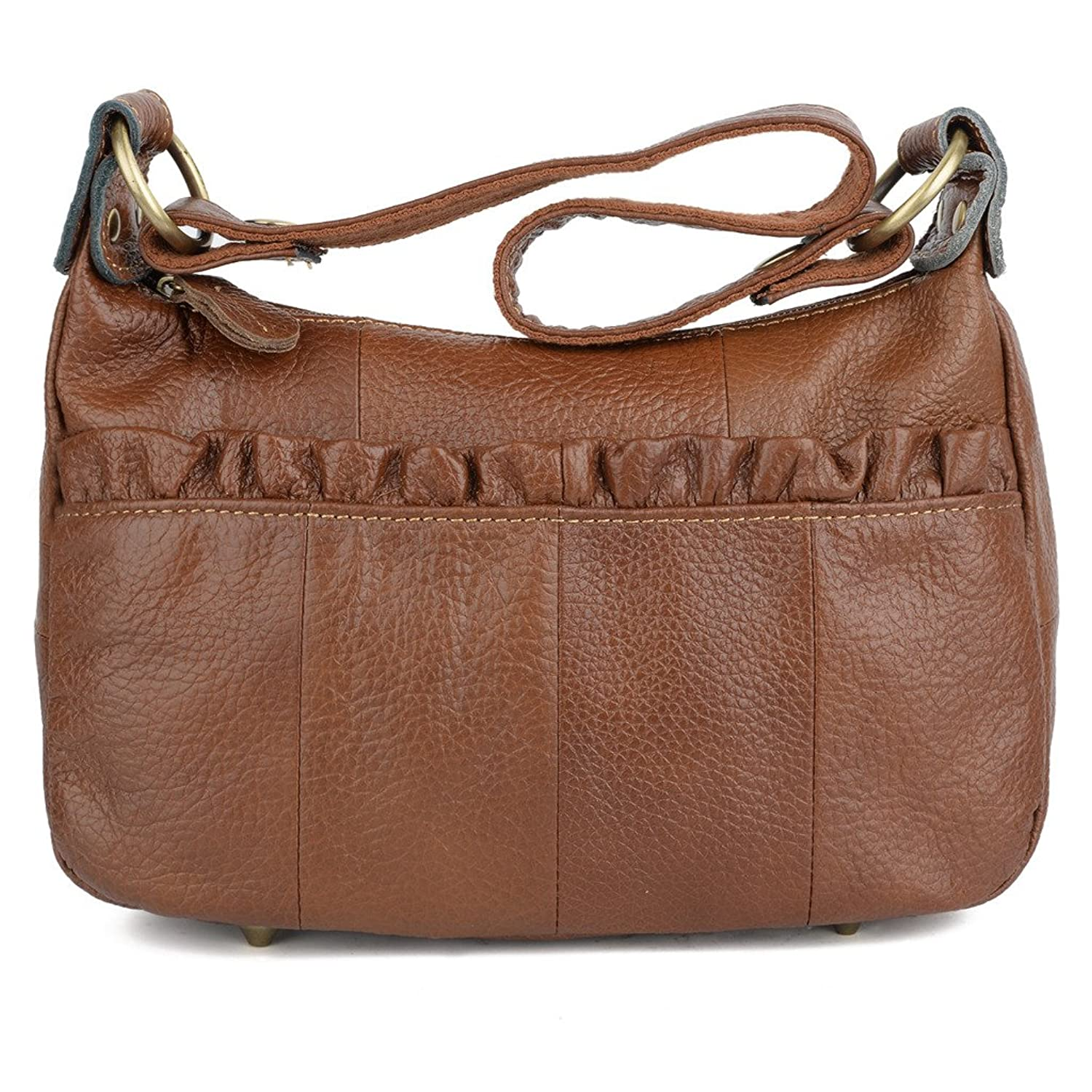 YALUXE Women's Cowhide Real Leather Small Handy Purse Crossbody Shoulder Bag