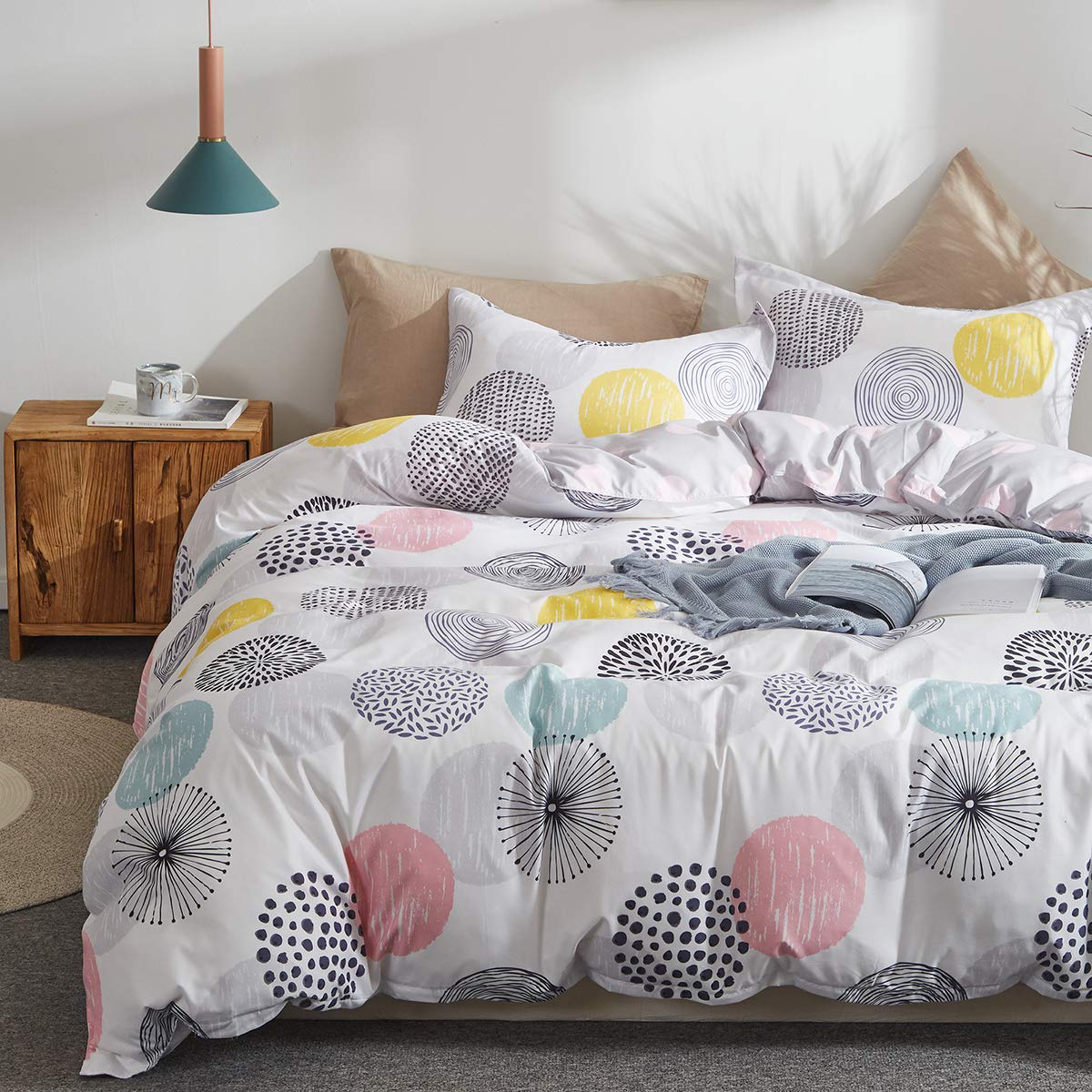 Uozzi Bedding 3 Piece Duvet Cover Set Queen (1 Duvet Cover + 2 Pillow Shams) with Colorful Dots, 800 - TC Comforter Cover with Zipper Closure, 4 Corner Ties - Pink Gray Yellow Circles for Adult/Kids by Uozzi Bedding