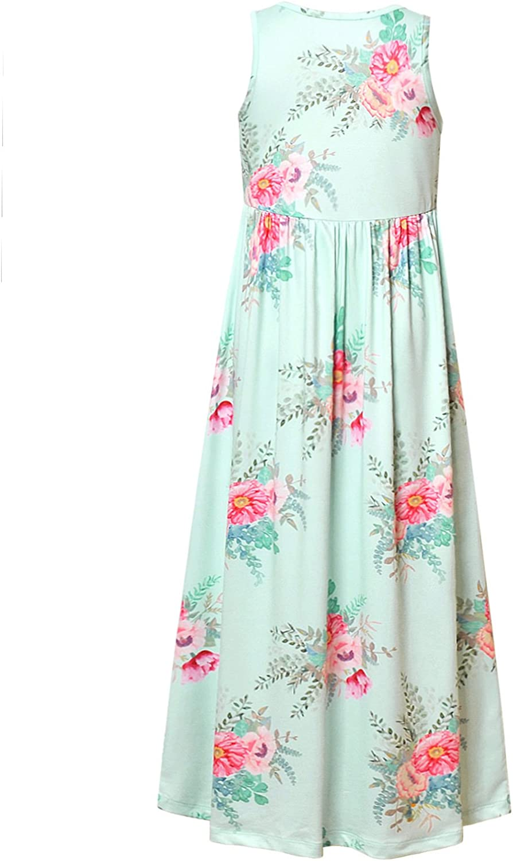 Girl Maxi Dress with Pockets Summer Floor Length Floral Sleeveless//Short Sleeve
