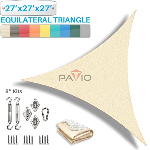 PATIO Paradise 27 x 27 x 27 Sun Shade Sail with 8 inch Hardware Kit, Beige Equilateral Triangle Canopy Durable Shade Fabric Outdoor UV Shelter – 3 Year Warranty – Custom