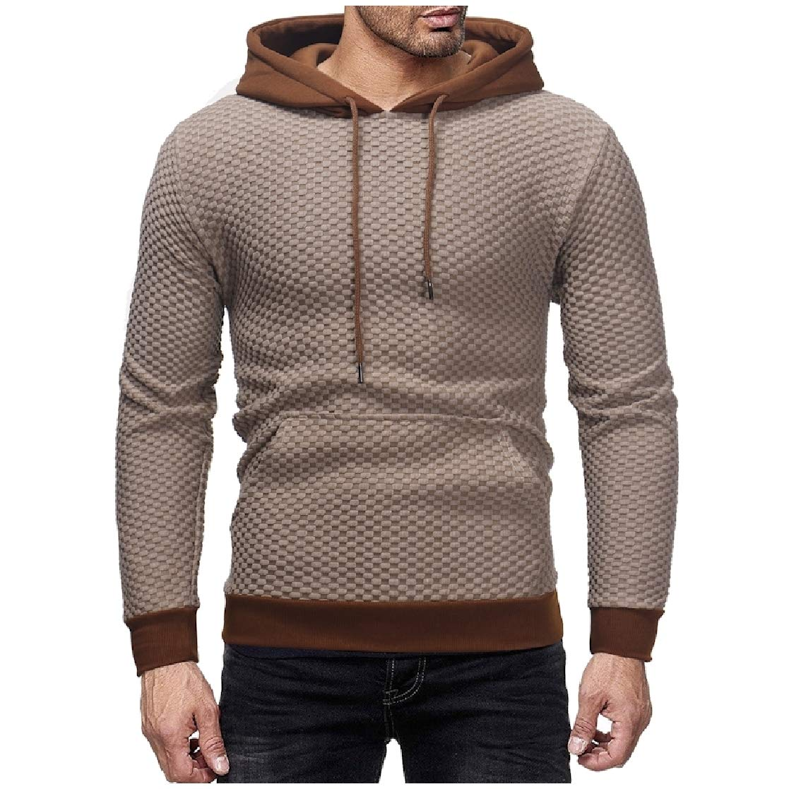YUNY Mens Plaid Long Sleeve Hooded Cargo Pocket Drawstring Pullover Tracksuit Top Off-White XL