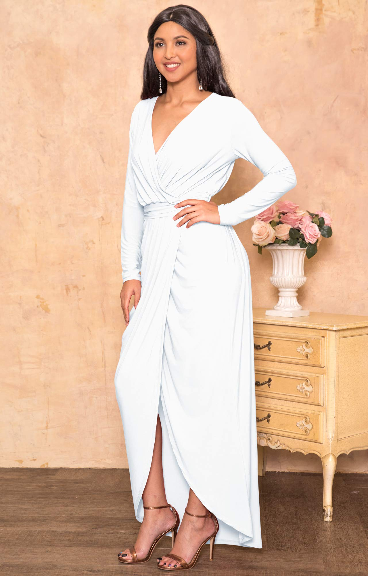 42a8c6d2bbd KOH KOH Plus Size Womens Long Sleeve Full Length V-Neck Sexy Wrap Empire  Waist Formal Winter Fall Cocktail Wedding Evening Gown Gowns Maxi Dress ...