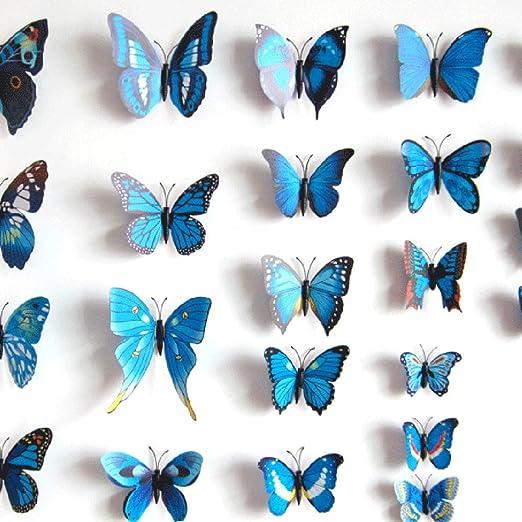 Anself 12pcs 3D DIY Mariposas de imitación extraíbles pegatinas de ...