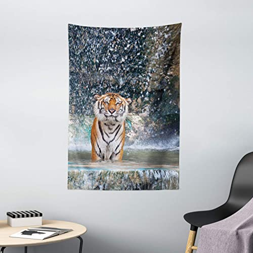 Ambesonne Waterfall Tapestry, Image of a Large Majestic Tiger in The Waterfall Exotic Wildlife Animal in Nature, Wall Hanging for Bedroom Living Room Dorm Decor, 40 X 60 , Grey Orange
