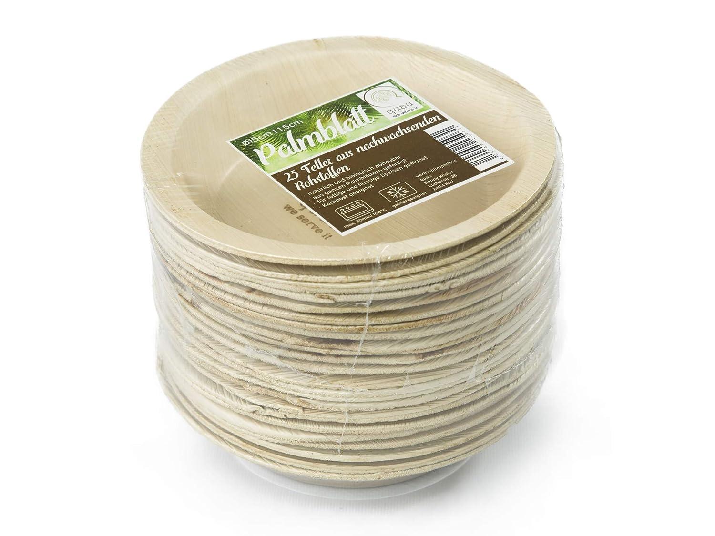 Partygeschirr biologisch abbaubar stilvoll Champignonpfanne Palmteller rund kompostierbar /Ø15cm Palmblattteller Einmalgeschirr 2,5cm tief quau 25 Einwegteller aus Palmblatt Sch/üssel