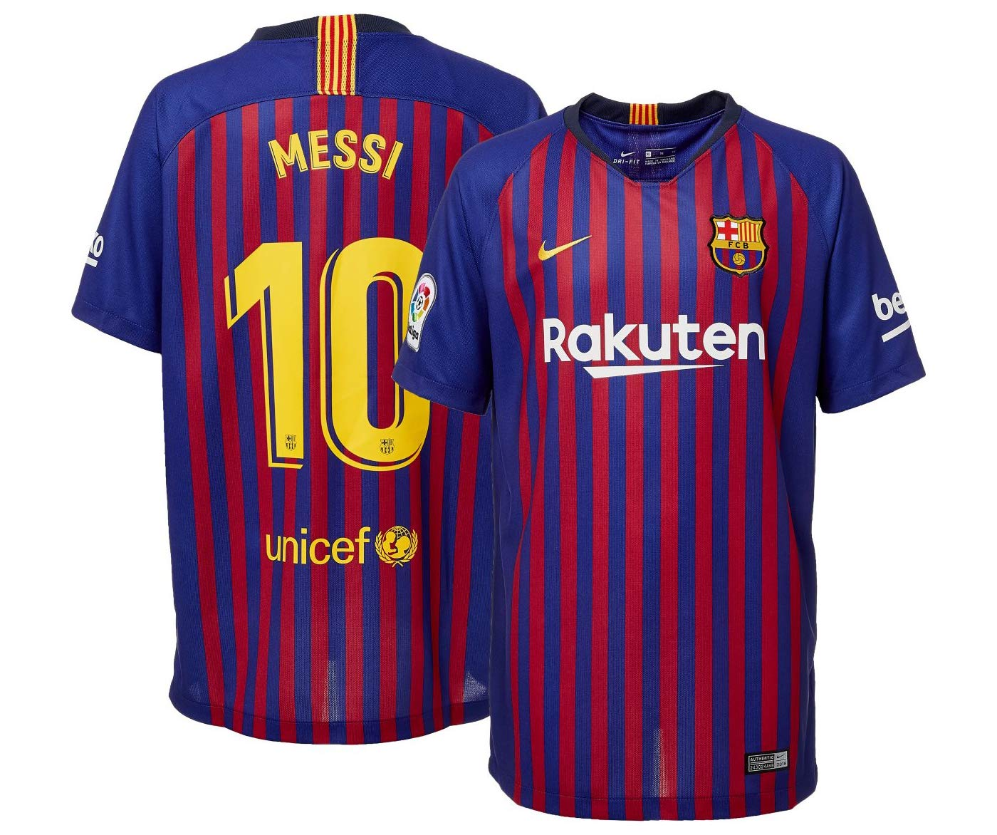 ad6fbb412 Amazon.com   Barcelona 2018 19 Home Replica Player Jersey   Sports    Outdoors