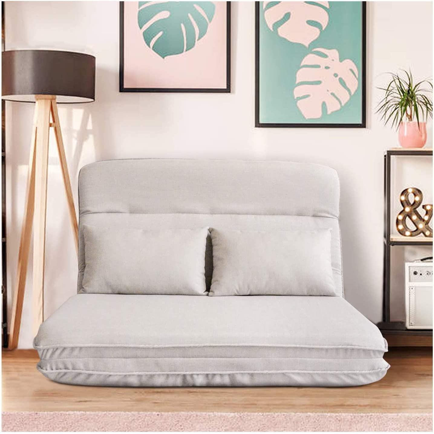 Floor Couch Folding Lazy Sofa Bed Foldable Recliner Bed with Pillow for Living Room and Bedroom, with 5 Reclining Position (Grey)