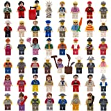 Minifigures Set of 48 with 11 Minifigures Accessories - Unassembled Building Bricks Toy Set Colorful Mini Community People Kit for Kids