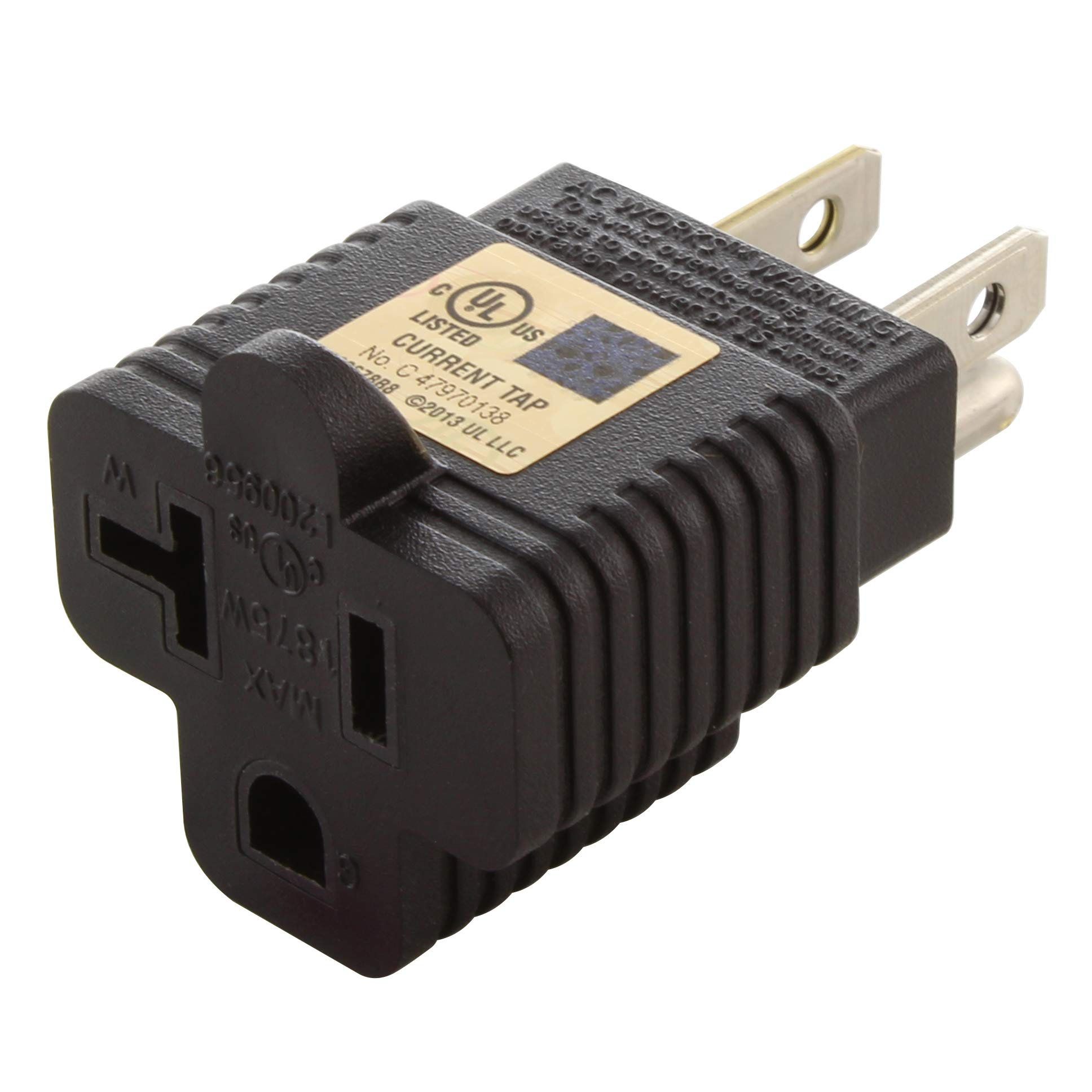 AC WORKS 15 to 20Amp 125Volt T-Blade Adapter (50PK-UL Cert.)