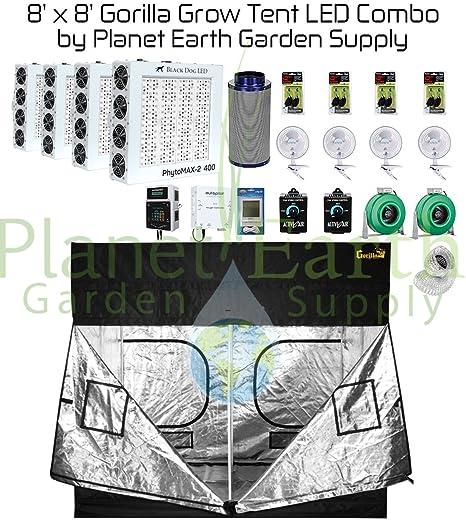 Amazon com : 8' x 8' Gorilla Grow Tent Kit Black Dog LED