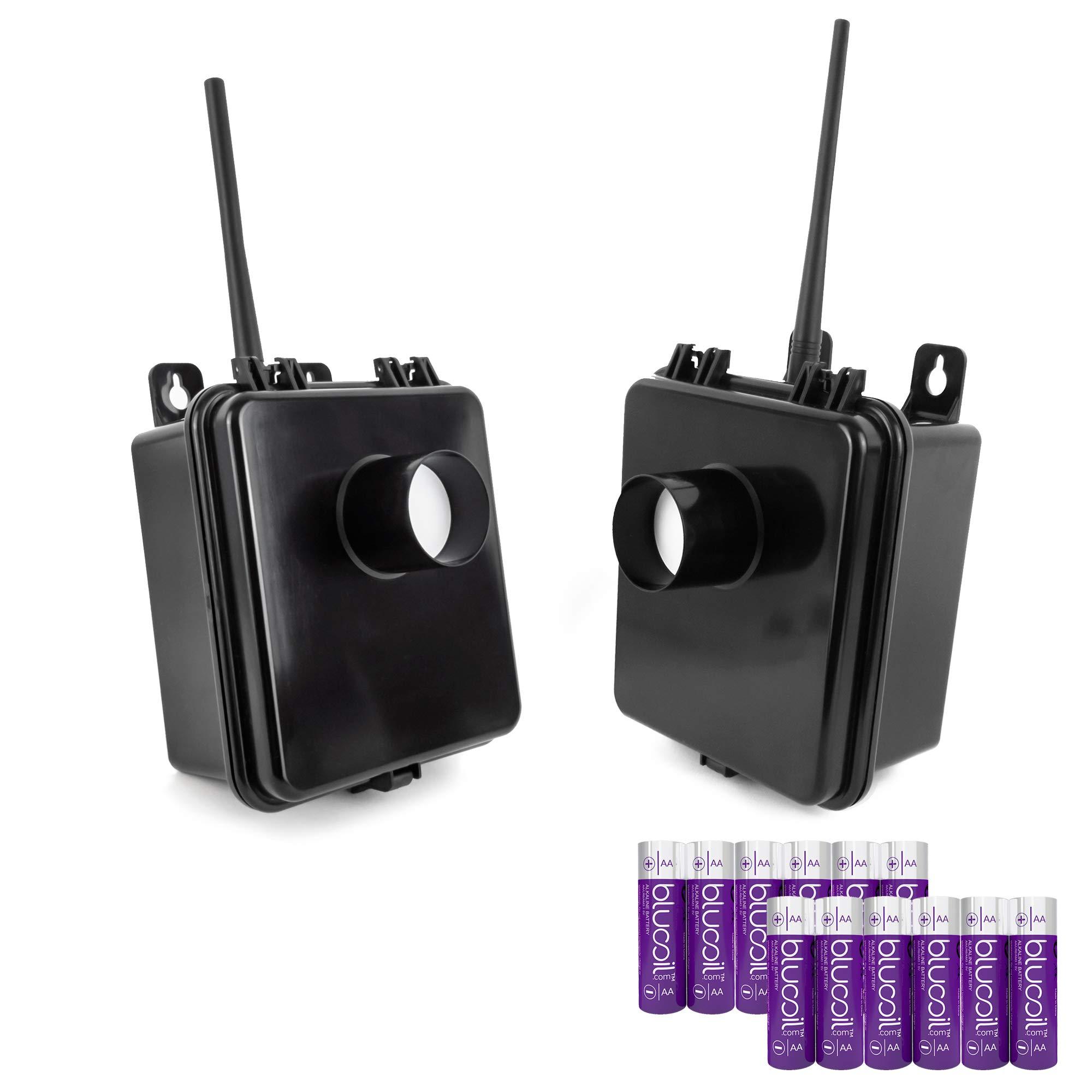Dakota Alert MURS Alert Transmitter - Passive Infrared Motion Detector (2-Pack) Bundle with Blucoil AA Batteries (12-Pack)
