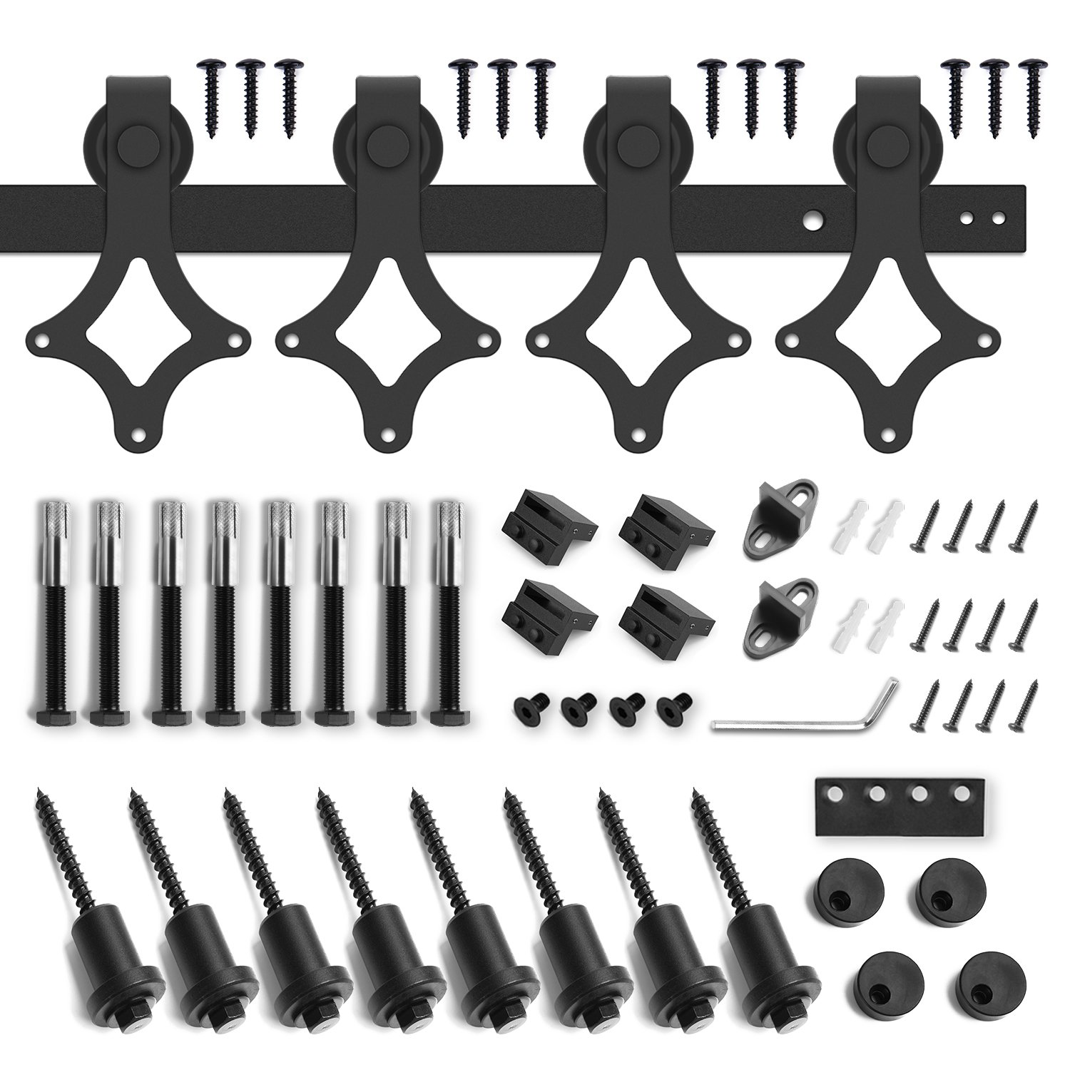 10ft Heavy Duty Sturdy Double Door Sliding Barn Door Hardware Kit - Super Smoothly and Quietly - Simple and Easy to Install - Includes Step-by-Step Instruction -Fit 30'' Wide Door(Rhombic Shape Hanger) by SMARTSTANDARD (Image #4)