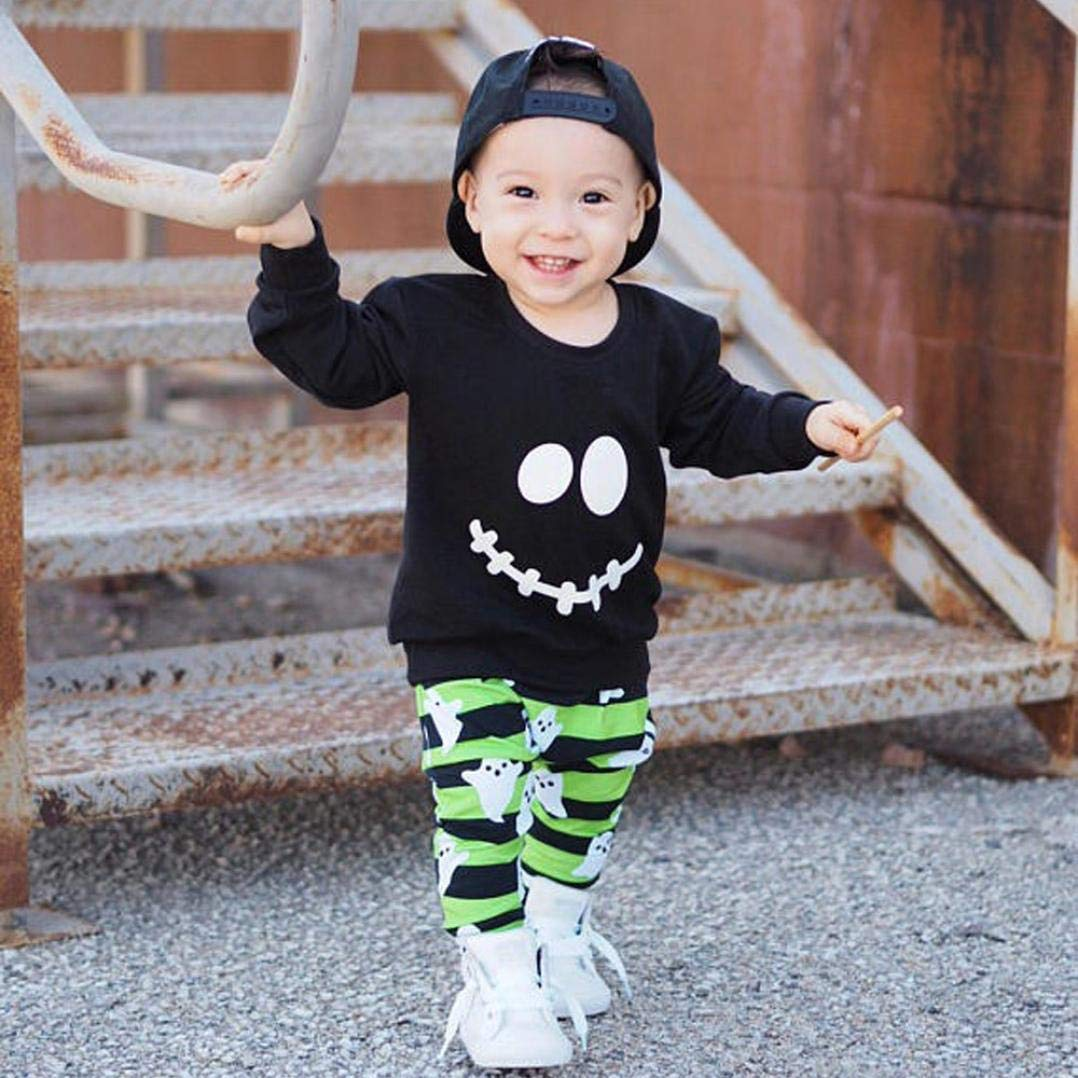 erthome 0-4 Y Baby Boys Girls Cartoon Ghost Tops Pullover Pants Halloween Outfits Set