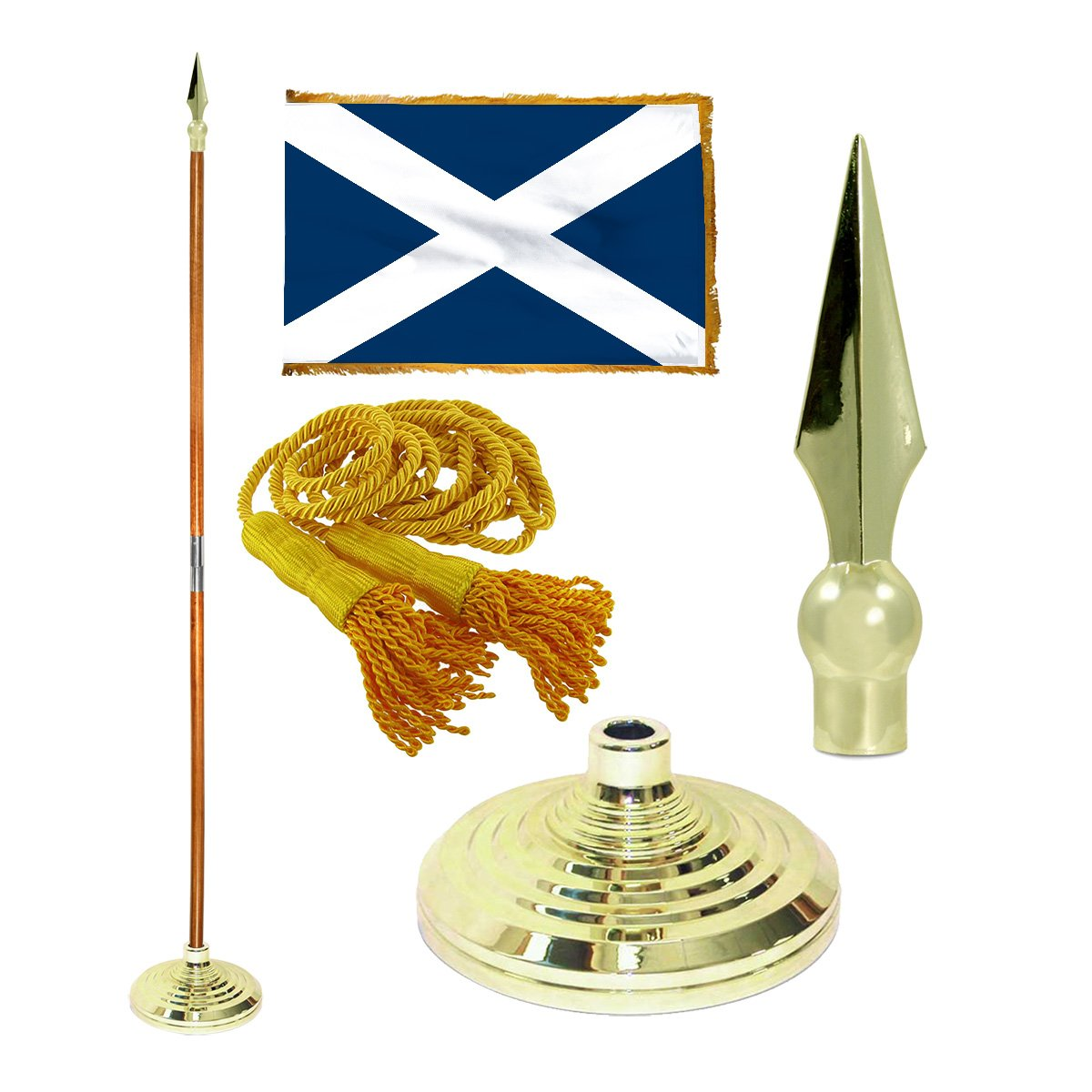 Scotland 3ft x 5ft Flag, Flagpole, Base, and Tassel ( 7 Ft Oak Pole, Metal Spear)