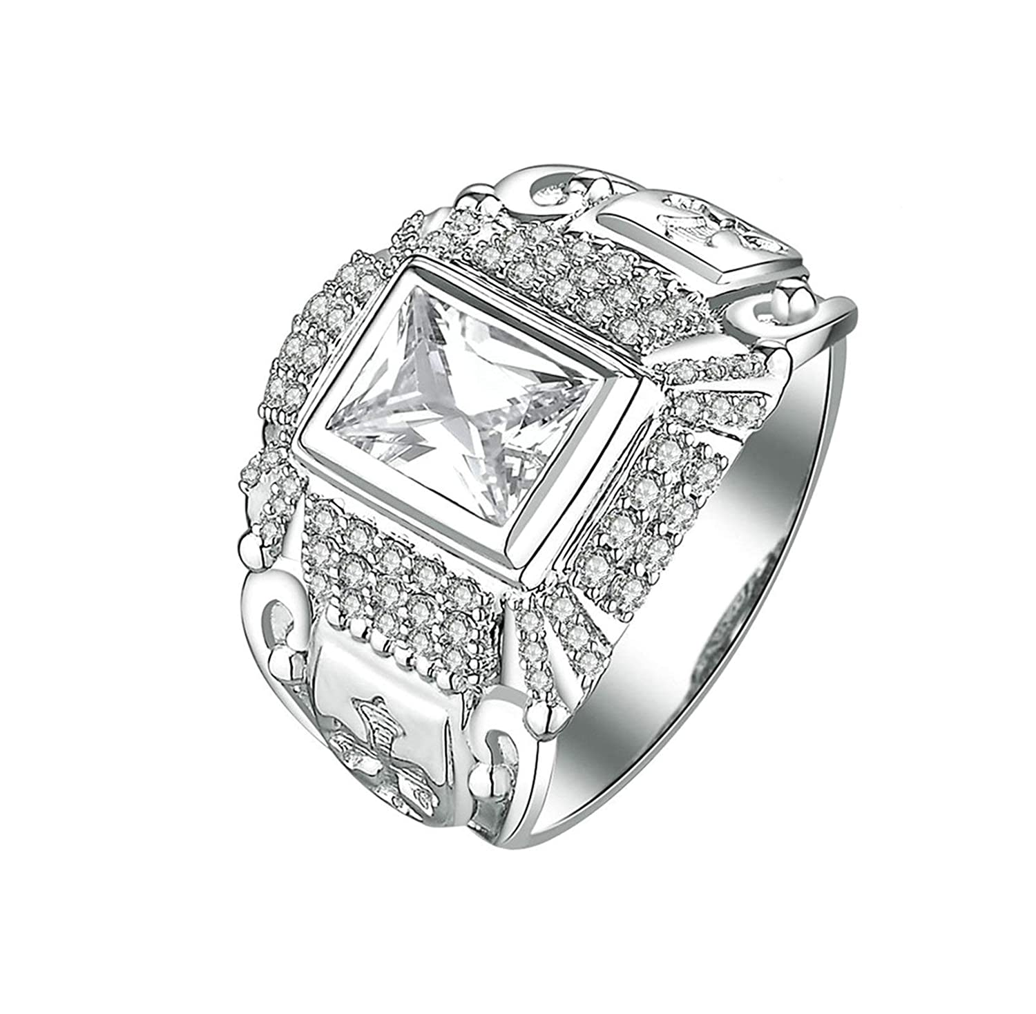 c06c0a341672f Aooaz Jewelry Wedding Ring Silver Material Square Ring for Women ...