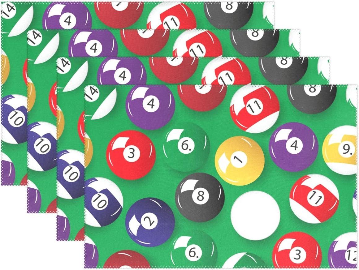 Cooper niña color bolas de billar manteles individuales alfombrilla de mesa 12 x 18 pulgadas Poliéster para cocina mesa de comedor juego de 4: Amazon.es: Hogar