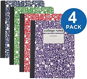 """1InTheOffice Composition Notebook, College Ruled, Assorted Colors""""4 Pack"""""""