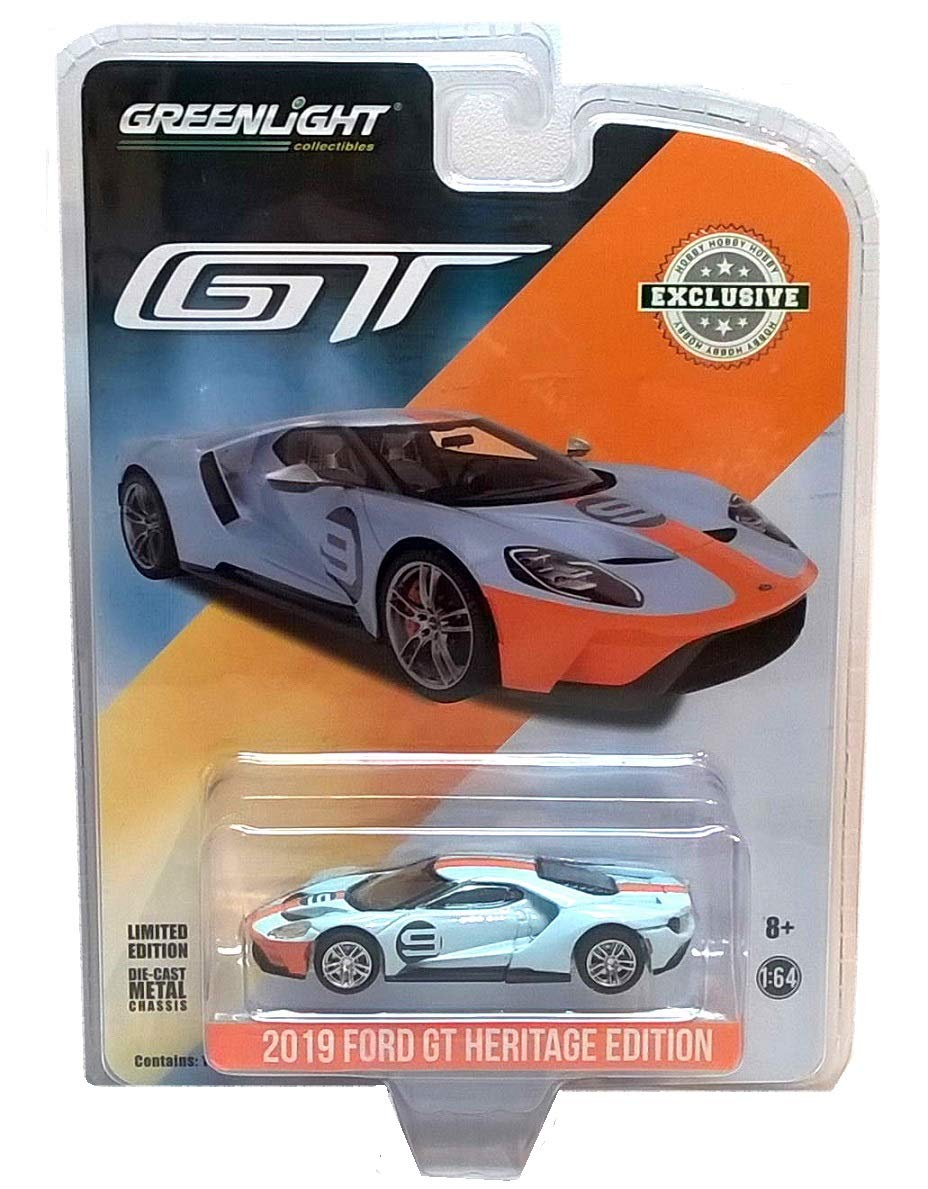 Greenlight 2019 Ford GT #9 Gulf Racing Blue with Yellow Stripes Heritage Edition Hobby Exclusive 1/64