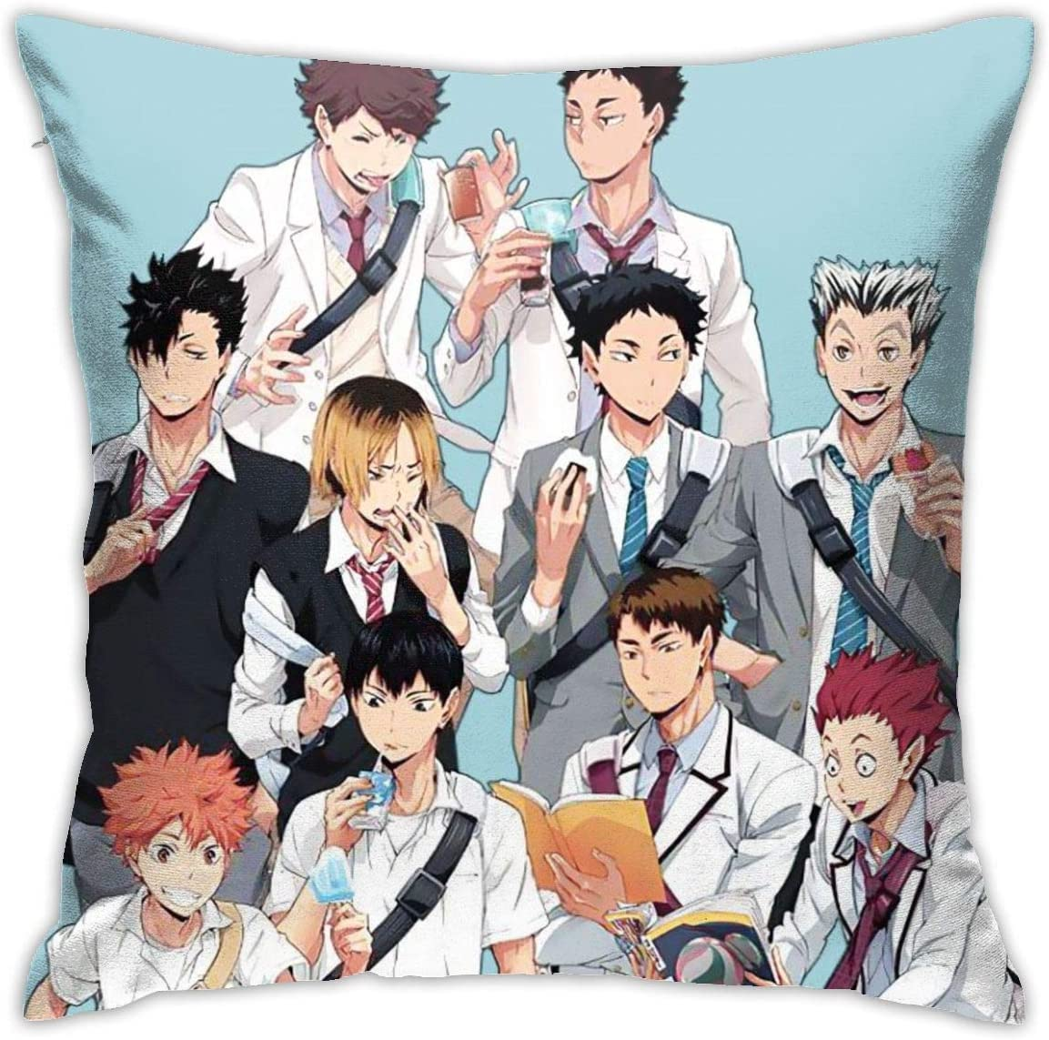 "Pillowcase 18"""" X18 Haikyuu!!! Cool Comic Newdecorative Square Throw Pillow Covers Cushion Hold for Sofa Bedroom Car Home Decor"