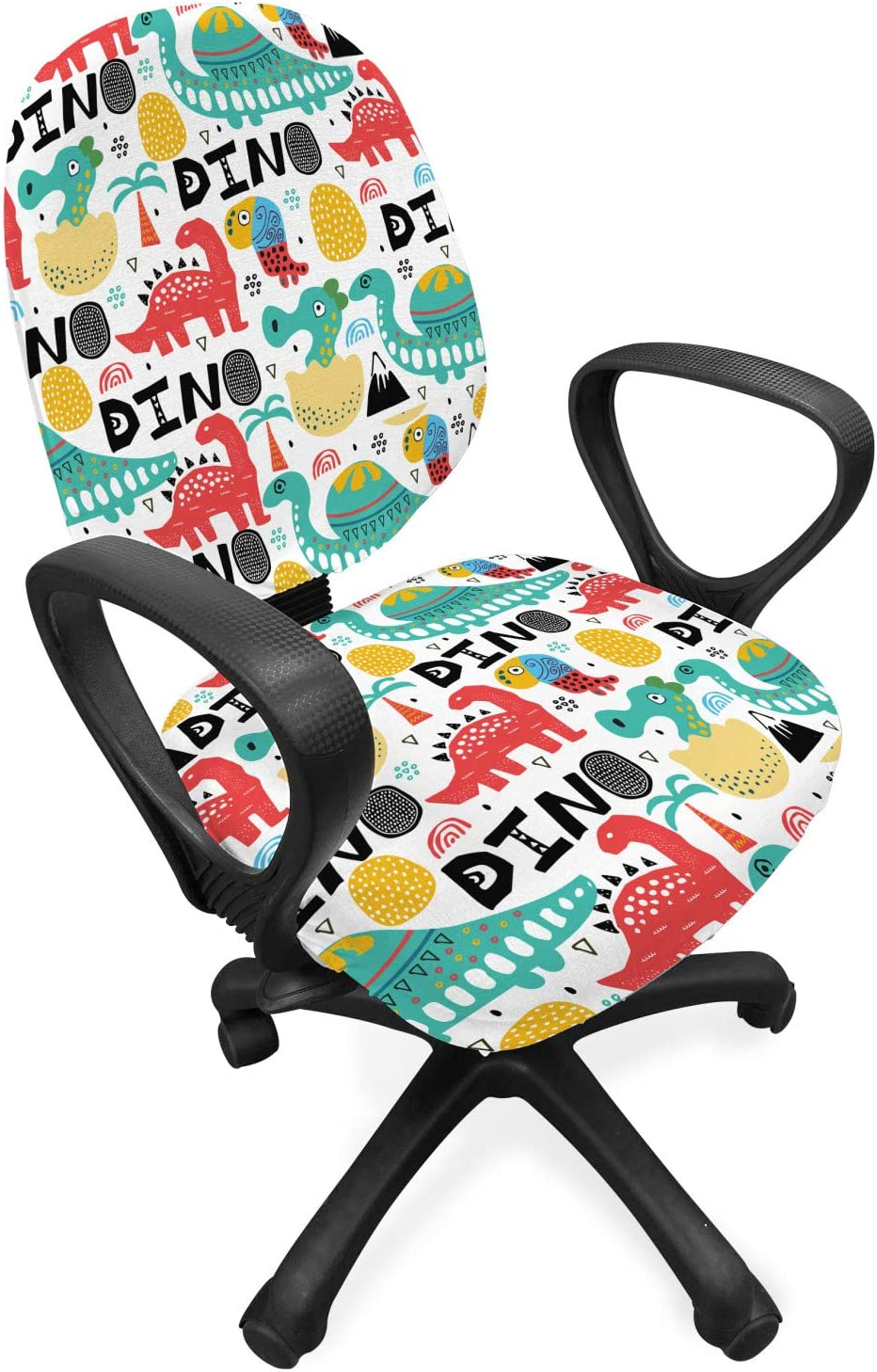 Lunarable Dinosaur Office Chair Slipcover, Dino Calligraphy with Unusual  Drawings and Specifics Orient Scandinavian Print, Protective Stretch
