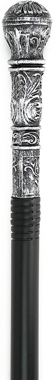 Skeleteen Antique Silver Walking Cane - Elegant Vintage Prop Stick Dress Pimp Canes Costume Accessories for Adults and Kids