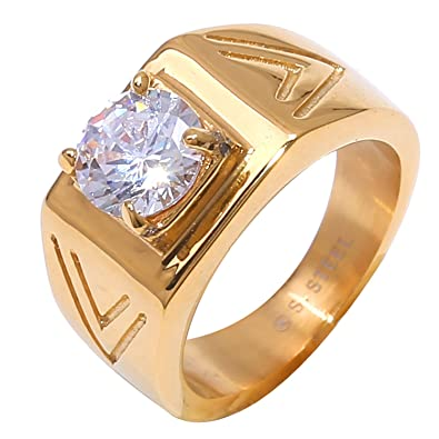 Mens Stainless Steel One Round Iced Out Cz Bling Band Engagement