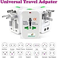 Cartshopper Europe/UK/US/China/India All in One Universal Travel Adapter Plug Surge Protector (White)