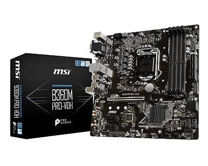MSI Pro Series Intel Coffee Lake B360 LGA 1151 DDR4 Onboard Graphics Micro  ATX Motherboard (B360M PRO-VDH)