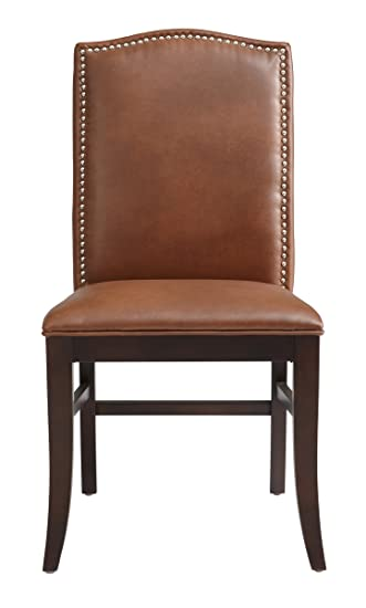 Sunpan Modern Maison Leather Dining Chair, Set Of 2, Cognac