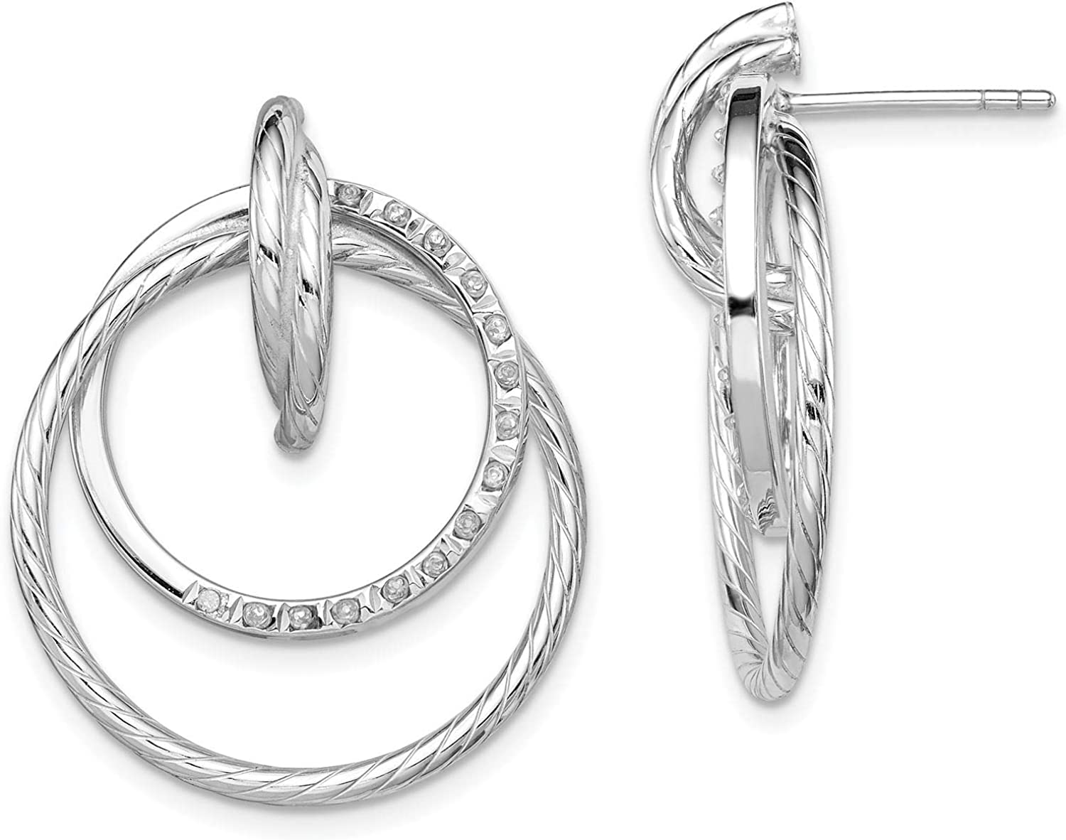 925 Sterling Silver Polished Interlocking Circles w//Diamond Accent Dangle Post Earrings by Diamond Mystique