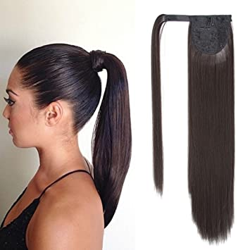 Long Straight Hair Ribbon Ponytail Clip in Hair Extensions One Piece Tie Up  Wrap Around Ponytail a35d488fe79