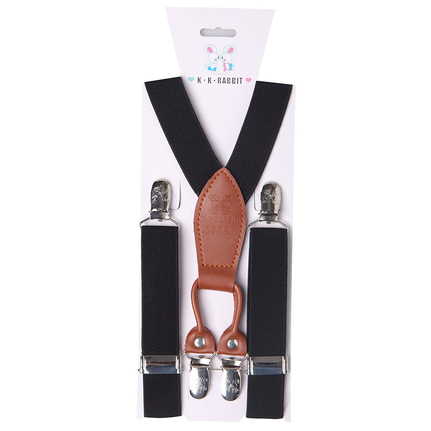 K·K-RABBIT®Children's adjustable Elasticated Clip on Braces Plain Coloured Kids Braces Suspenders X shape Perfect Match With Bow Tie