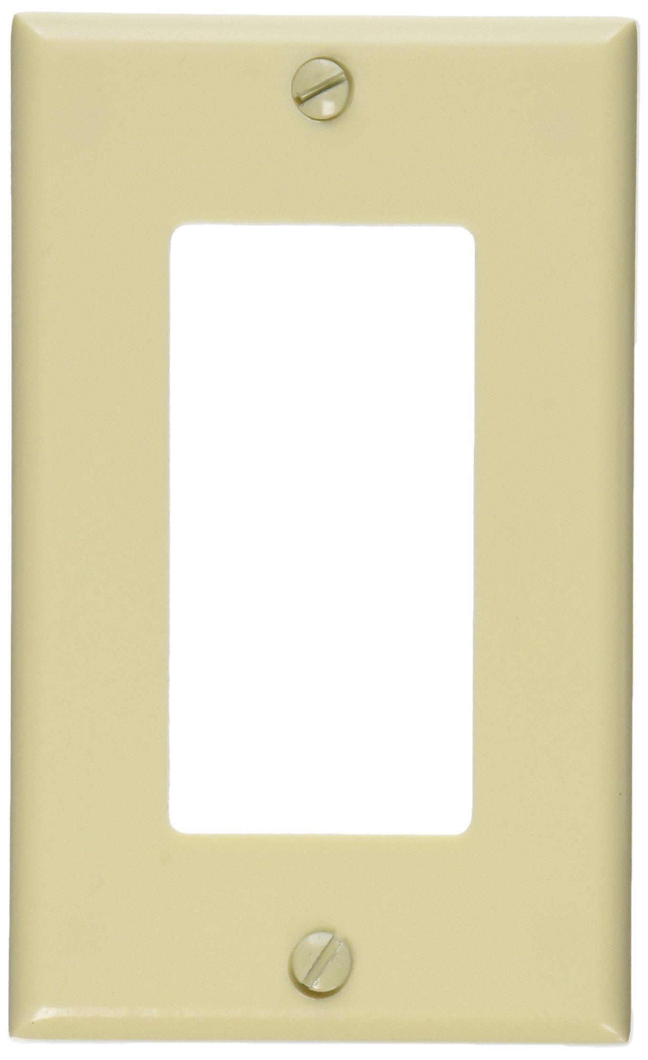 Leviton 80401-I 1-Gang Decora/GFCI Device Wallplate, Standard Size, Thermoset, Device Mount, Ivory