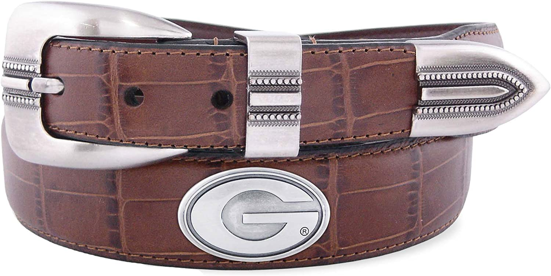 Zeppelin Products Inc NCAA Georgia Bulldogs Crocodile Tip Leather Concho Belt