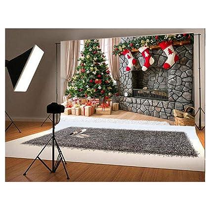 220x150cm(7x5ft) Fondo de fotografía de Navidad para niños Árbol de Navidad y Tres