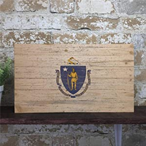 BYRON HOYLE Massachusetts State Flag Wood Sign,Wooden Wall Hanging Art,Inspirational Farmhouse Wall Plaque,Rustic Home Decor for Living Room,Nursery,Bedroom,Porch,Gallery Wall