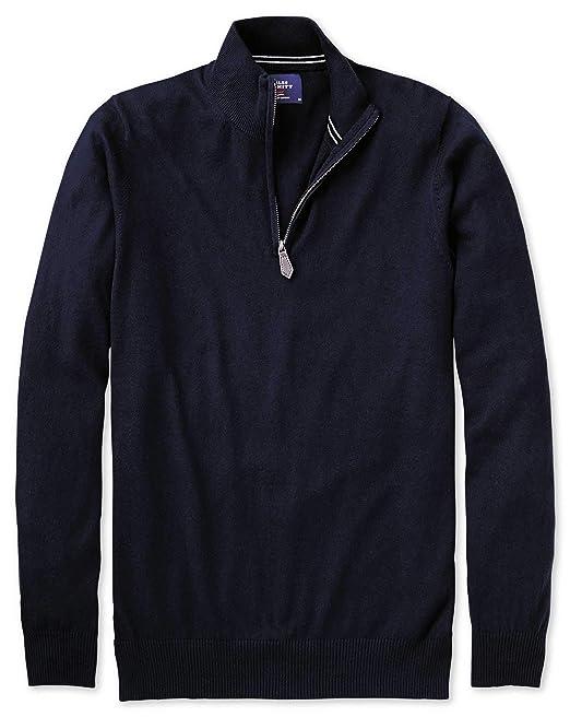 Baumwolle Kaschmir Pullover mit Reißverschlusskragen in