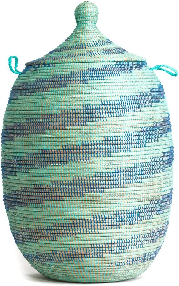 Aqua and Blue Swirl Laundry Basket Certified Fair Trade