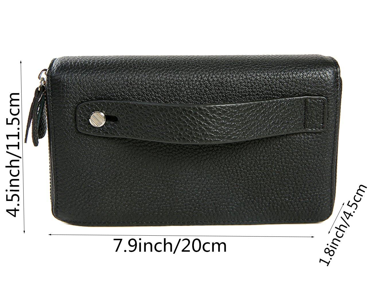iSuperb Men Leather Clutch Wristlet Classy Zipper Large Capacity Wallet Purse for iPhone 6 6s 6plus 6splus 7 7plus 7.9x4.5x1.8 inches Black