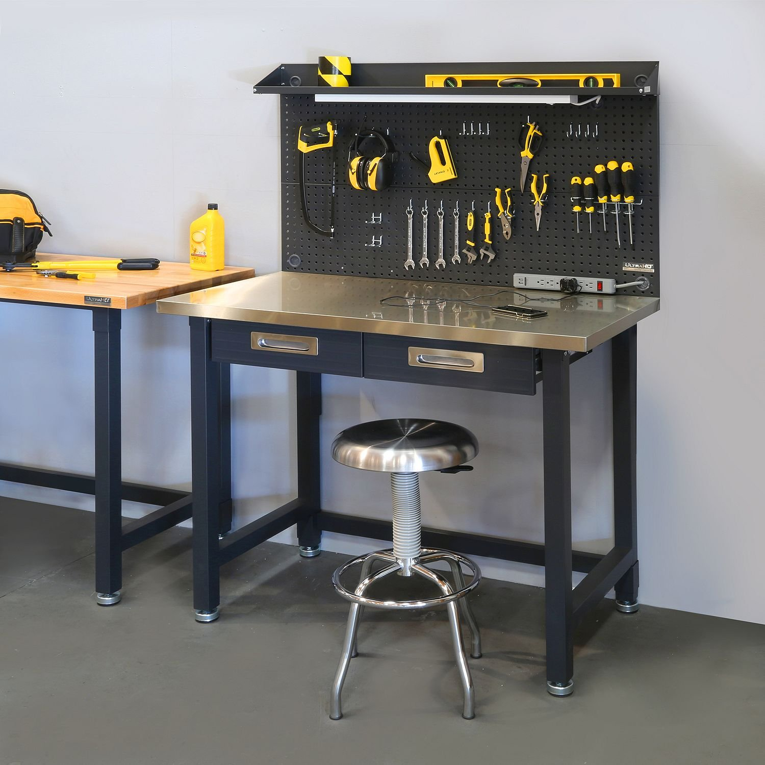 Seville Classics UltraHD Lighted Stainless Steel Top Workbench