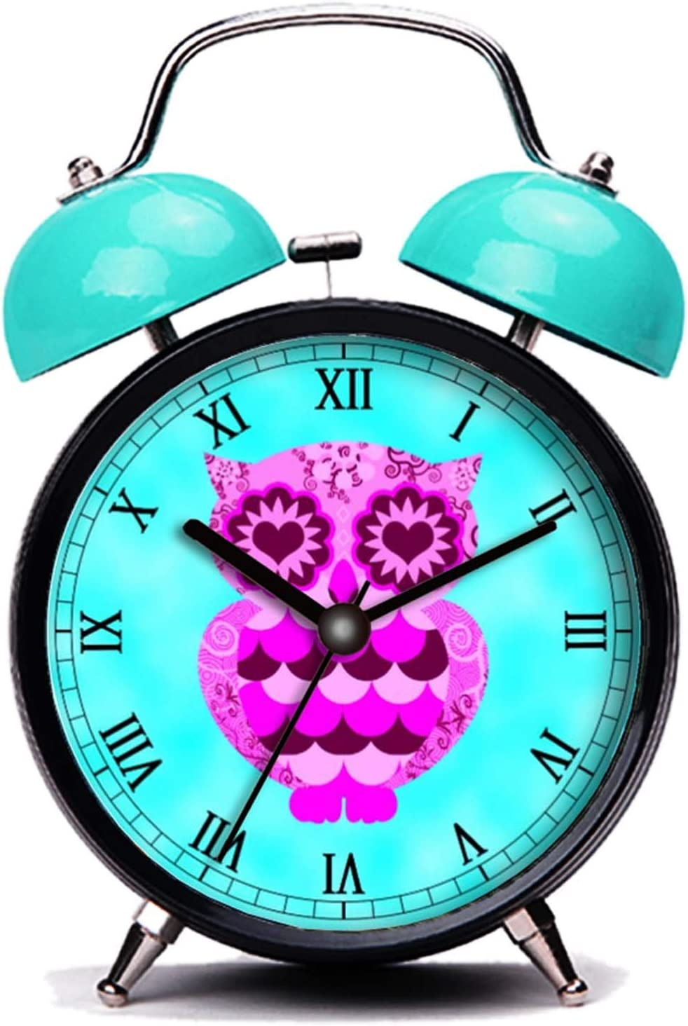 GIRLSIGHT3 Blue Alarm Clock, Cute Cute Pink Purple Heart Retro Owl Groovy Teal Sky Loud Alarm Clock Twin Bell Alarm Clocks with Nightlight